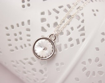 April Birthstone Clear Crystal Necklace with Sterling Silver Chain Choice of Birthstone Color
