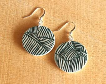 Ceramic BANANA LEAF Earrings - Handmade Porcelain Banana Leaf Earrings - Tropical Earrings - Ready To Ship