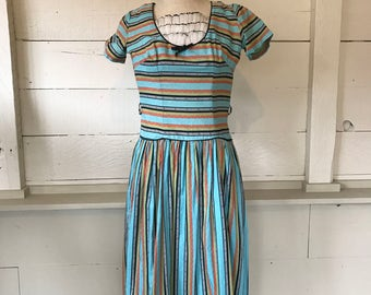 1950s Folk stripe Print Peasant Dress S