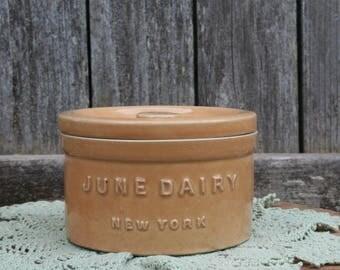 Very Nice June Dairy New York Crock With Lid
