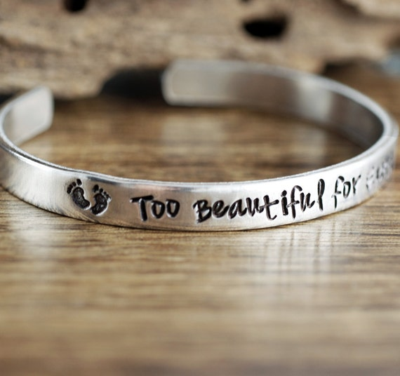 Memorial Bracelet, Sympathy Gift, Too Beautiful for Words, Baby Feet Jewelry, Secret Message Jewelry, Personalized Silver Cuff Bracelet