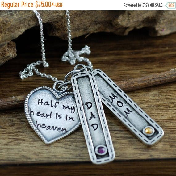 15% OFF SALE Half My Heart is in Heaven, Remembrance Necklace, Bereavement Jewelry, In Memory Of Dad, Memorial Necklace, Hand Stamped Neckla
