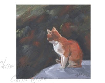 Orange Cat Oil Painting, Unique Gift 5x5 inches on Archival Panel