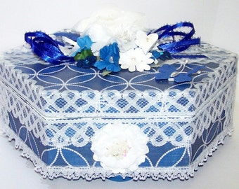 Decorated Box, Something Blue, French Blue, Gift Box, Blue and White, Jewelry Box, Trinket Box, Delfts Blue, Free Shipping, Gifts for Her