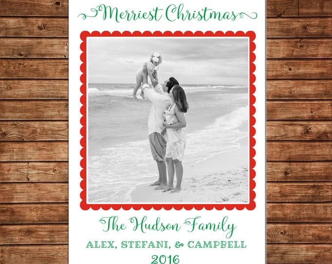 Photo Picture Christmas Holiday Card Red Green Scallop Simple Preppy - Digital File