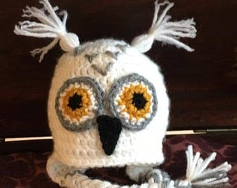 HEDWIG Snowy Owl Inspired Hat Harry Potter Crochet Earflaps Beanie Little Owl Photo Prop Costume Gryffindor Newborn Baby Child Adult Sizes