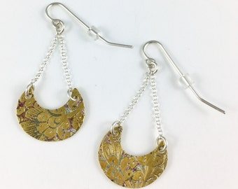 Brass Earrings, Indian Earrings, Indian Jewelry, Moon Earrings, Moon Charm, Upcycled, Wife Gift, Spoon Earrings, Brass Charm, Brass Jewelry