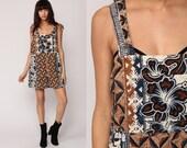 Floral Overalls Shorts Grunge Romper 90s Shortalls HAWAIIAN Print Bib Playsuit Cotton One Piece Brown Blue Shorts Vintage 1990s Large