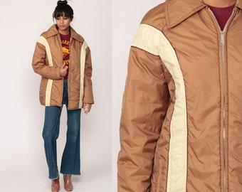 Retro Ski Jacket Puffer Jacket 70s Striped Puffy Coat Winter Puff Jacket Tan Cream Retro Boho 1980s Hipster Vintage Bohemian Medium