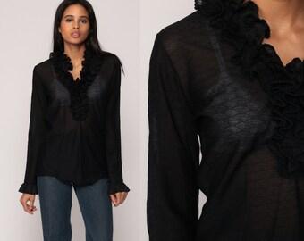Black Blouse 70s Shirt Sheer Top RUFFLE Top Boho Tuxedo Goth Bohemian Vintage 1970s Shirt Long Sleeve Medium Large
