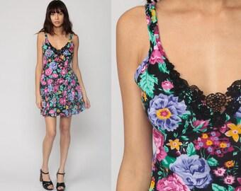 Floral Sun Dress Mini CROCHET LACE Grunge 80s Summer Drop Waist Sundress 1980s Vintage Black Pink Purple Sleeveless Minidress Small Medium