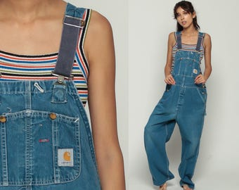 Carhartt Overalls Denim Pants 80s GRUNGE Suspender Jean Pants Baggy Dungarees 90s Bib Long Vintage Workwear Extra Large xl