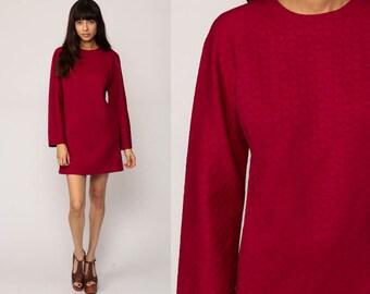 Mod Mini Dress 70s Shift Plain Twiggy 60s Vintage Retro Minidress Gogo Long Raglan Sleeve POLKA DOT Burgundy Go Go Sixties Large
