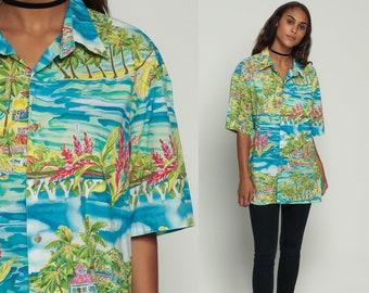 Hawaiian Shirt Tropical Shirt 90s Palm Tree Blouse Floral Surfer Button Up Shirt 1990s Boho Top Beach Sea Ocean Large