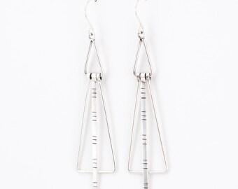 Flare earrings - long dangle triangular movement ear dangles
