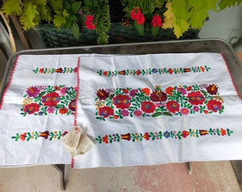 Vintage Pair of Hand Embroidered Hungarian Pillow Shams Pillowcases Unused w Tag