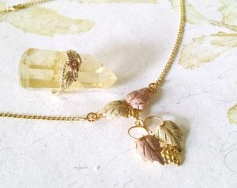 Pendant Necklace and Ring Vintage Black Hills Gold Grapes Leaves Vines
