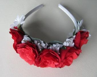 Daisy & red rose flower tiara, white satin band, silk flower hair, bridal flower headpiece, flower girl hair accessories