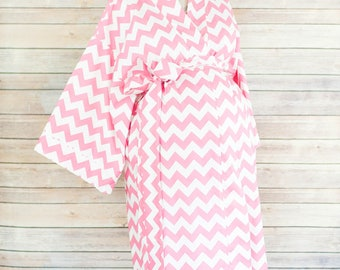 Pink Chevron Maternity Kimono Labor and Delivery Robe - Add a Delivery Gown for a Perfect Hospital Set