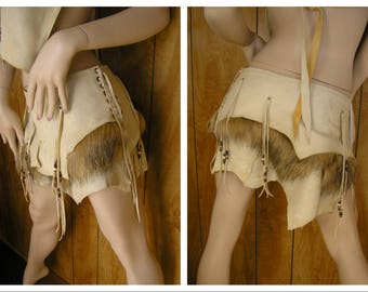 Leather loincloth, Barbarian leather, faux fur, almond leather, golden faux fur, beaded fringe