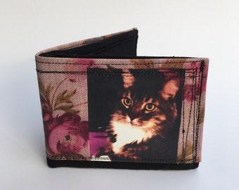 Bifold wallet, men's wallet, cool bifold wallets, handcrafted wallet, cat wallet