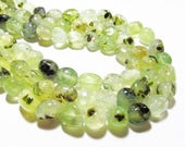 "7"" Gemstone STRAND - Prehnite Beads - Large Pebble Nugget - Lime Green with Black & Brown Inclusions (7"" strand ~24 beads) - str1145"