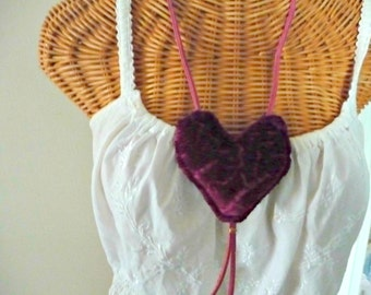 Velvet Heart Necklace Leather Quilted Burgundy Wine Valentines Day Art Wear Fiber