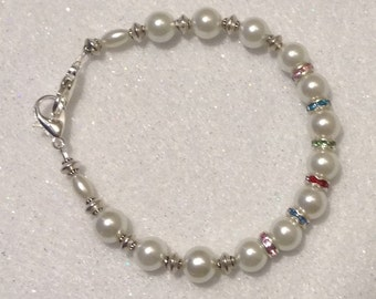 Bracelet Crystal and Pearl Bracelet Medical Alert Allergy ID or Watchband by madeforUjewelry on Etsy