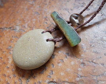 Pebble, Chrysoprase, Smoky Quartz necklace. Unique natural stone jewelry - earthy organic jewellery adjustable length - macrame