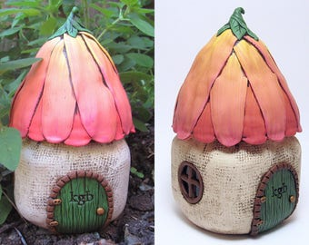 Custom Flower Fairy House, Polymer Clay, Recycled Glass Jar, Garden Decoration, Secret Storage Box, LED Night Light, Unique Girl Gift