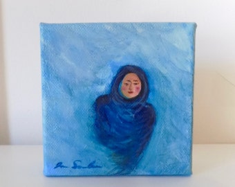 Woman In Blue Mist - Small Original Painting