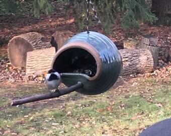 Ceramic bird feeder, bird feeder, yard art, hanging bird feeder, bird