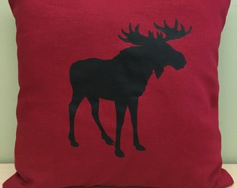 """16"""" Red moose pillow cover"""
