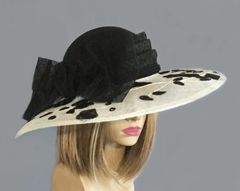 "Kentucky Derby hat, Savannah"" Summer Picture Hat,  large brim straw hat, appliqué sinamay straw hat"