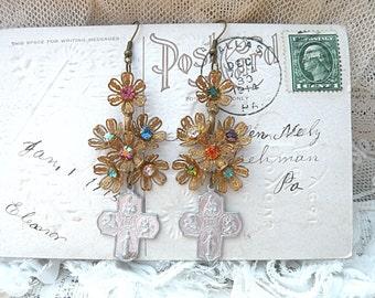 winter flower assemblage earrings religious catholic cross medal upcycled filigree