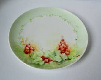 Vintage Hand Painted Red Grapes Porcelain Plate.