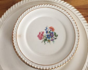 Vintage Cake Plate and 6 Dessert Plates Wedding Tea Party