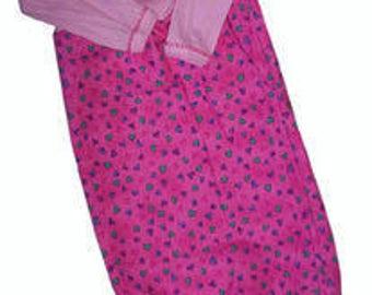 Preemie & Newborn Hot Pink Hearts Flannel Lap Shoulder Baby Gown