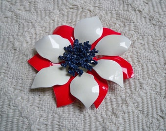 Vintage Jewelry Brooch Floral Red White Blue Costume Jewelry