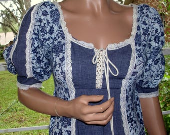 Gunne Sax Dress Blue on Blue Batik