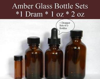 Dropper Bottles, Amber Dropper Bottles, Glass Dropper Bottles Empty Dram or Oz Bottles For Essential or Fragrance Oil Dispensing & Storage