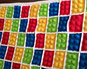 Crochet Lego Blanket - Digital Download - Crochet Blanket LEGO - LEGO Theme Crochet Blanket - Digital Pattern, Building Blocks, Lego Blanket