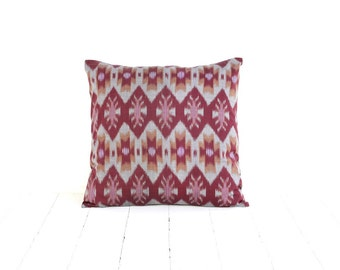 Ikat, Pillow, Cushion, Eclectic, Ethnic, Industrial, Rustic, Global Decor, Indonesian Textiles, Marsala