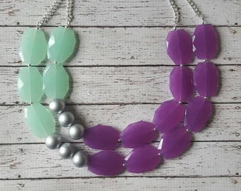 FREE EARRINGS Mint, Orchid, and Silver Chunky Statement Bib Necklace...Purchase 3 or more get 10% off