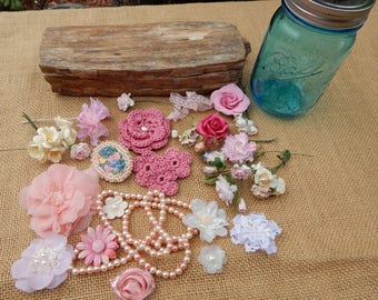 Pink Feminine Craft Supplies  ~  Pink Victorian Style Craft Supplies in Blue Ball Jar  ~  Pink Flowers Pearls and Lace