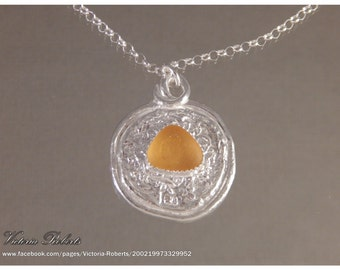 Golden Amber Sea Glass Necklace in Fine Silver with Sterling Silver Chain