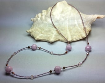 Murano glass Necklace Light Pink color
