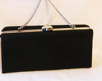 Black Evening Purse After Five Vintage 1960s Box Purse Handbag
