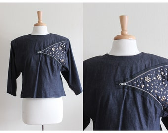 Vintage 1980s Embellished Denim Zipper Crop Top