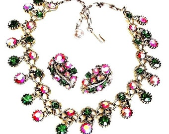 Schrager Red and Green Rhinestone Necklace with Earrings